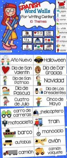 In this pack you will get word walls that consist of 10 different themes/topics with 10 picture word cards for each theme.   These are great to help with spelling. Students can use these to help them spell when they're writing independently. It will already be on display for them to simply grab. Also available in English :) Created by Alma Almazan