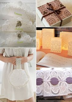 Love the luminaria bags with paper doilies glued on outside