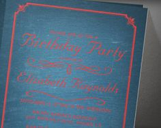 Blue And Red Chalkboard Birthday Party Invitation