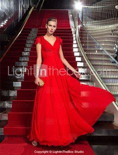 Formeller Abend / Militär Ball Kleid - Elegant Eng anliegend V-Ausschnitt Boden-Länge Chiffon mit Perlstickerei / Überkreuzte Rüschen 2016 - €107.79