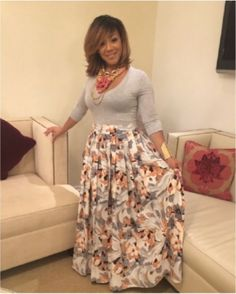 Erica Campbell, wearing a Custom Made Floral Print Skirt Designed By Algernon Johnson, Styled By Le'Goo. Cute Fashion, Modest Fashion, Girl Fashion, Fashion Looks, Fashion Outfits, Woman Outfits, Female Fashion, Maxi Skirt Outfits, Modest Outfits