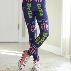 $29 CUSTOM Girls Navy INITIALS & NAME Arden Leggings