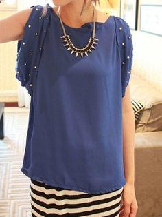 Blue Pearls Embellished Split Sleeve Chiffon Tie Back Blouse - Sheinside.com