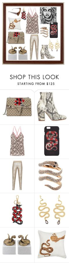"""Don't Get Afraid of Snakes"" by ipekzsuel on Polyvore featuring Gucci, Strategia, Altuzarra, BCBGMAXAZRIA, Williams-Sonoma, Jonathan Adler and Salvatore Ferragamo"