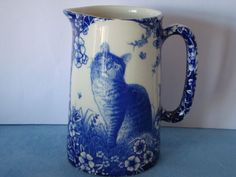 Pint Blue Victorian Cat Milk Jug Heron Cross Pottery Made In England