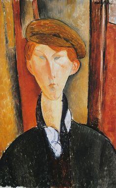 amare-habeo: Amedeo Modigliani (Italian, 1884-1920) - Jeune homme à la casquette, 1919 Oil on canvas via polyeucte-de-melitena