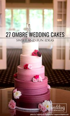 Sweet And Fun Ideas Ombre Wedding Cakes ❤ Mix ombre effect with flowers, ruffles and watercolor wedding cakes. Ombre wedding cakes look lovely. See more: http://www.weddingforward.com/ombre-wedding-cakes/ #wedding #cakes