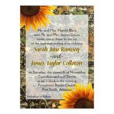 Camo Wedding Invitations Camo & Sunflower Wedding Invitation