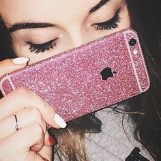 Pink Glitter iPhone Skin ✼ Available pink glitter skin for iPhone 6/6s. We also have available for iPhone 6+/6s+, check out our profile to buy it. This isn't a case, this is a sticker. Visit our website to see more colors and styles: www.elementaccessories.net and follow us on Instagram: @element.accessories Accessories Phone Cases