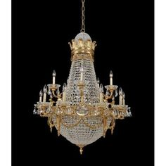 Allegri 020451 Marseille 25 Light 36 Wide Empire Chandelier with Crystal Accent, Clear