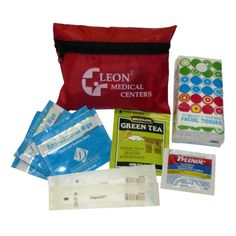 Get prepared for this cold season with the all in one flu care kit. This 5 piece kit contains 2 disposable thermometers, 1 bag of Tea, 4 anti bacterial wipes, 1 pack (2 caplets) of Tylenol, and a travel pack of tissues (this item can also be customizable QUR). All comes packed in a zipper nylon case for easy presentation and carry. Great for wintery snow seasons!