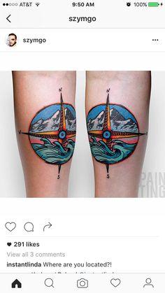 Compass Tattoo. Mountain tattoo. Ocean tattoo.