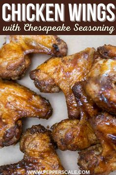 Our honey Old Bay wings are one of our favorites! If you've had Chesapeake chips of any kind, you've experienced the flavor of Old Bay... Just imagine how delicious that Chesapeake Seasoning is on our chicken wings. Perfection. #oldbaywings #oldbayseasoning #chesapeakeseasoning #chickenwings #wings Chicken Wings Spicy, Honey Chicken, Chicken Wing Recipes, Spicy Appetizers, Chicken Appetizers, Appetizer Recipes, Honey Old Bay Wings Recipe, Spicy Steak, Buffalo Wings