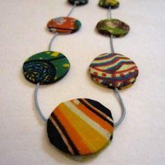 Collier ethnique sautoir en wax motif africain multicolore (envoi 0€)
