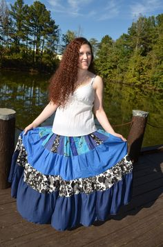 Long Tiered Skirt Gypsy Hippie Patchwork Twirl Skirt by Linarain #craftshout