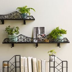 DETAILS Make an architectural element part of your indoor décor. Made of epoxy-coated iron, this sturdy bridge will provide a safe passage for candles, potted plants or other curios you wish to displa Trendy Home Decor, Affordable Home Decor, Handmade Home Decor, Cheap Home Decor, Unique Wall Shelves, Wall Shelf Decor, Shelf Display, Decoracion Low Cost, Apartment Walls