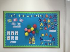 VCOP display inspired by Up. English Classroom Displays, Classroom Wall Displays, Teaching Displays, Class Displays, School Displays, Classroom Hacks, New Classroom, Literacy Working Wall, Teaching Schools