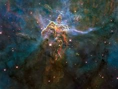 """Hubble Space Telescope Mystic Mountain Carina Nebula Poster - This turbulent cosmic pinnacle, otherwise known as """"Mystic Mountain"""", lies within a stellar nursery called the Carina Nebula 7500 light-years away in the southern constellation of Carina. Carina Nebula, Orion Nebula, Helix Nebula, Andromeda Galaxy, Cosmos, Mystic Mountain, Eagle Nebula, Art Sur Toile, Hubble Images"""
