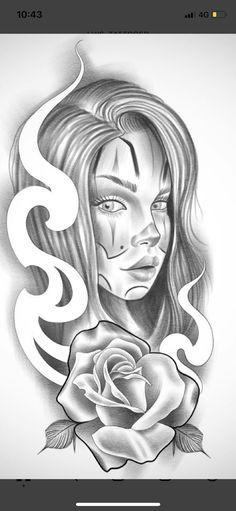 Sketch Tattoo Design, Tattoo Sleeve Designs, Tattoo Sketches, Tattoo Drawings, Skull Girl Tattoo, Girl Face Tattoo, Clown Tattoo, Chicano Tattoos Sleeve, Chicano Style Tattoo