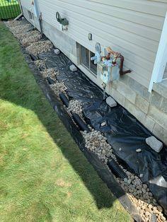 Waterproofing Basement - Exterior Foundation Drainage to Fix Damp Wet Basement Walls that Leak Water Gutter Drainage, Backyard Drainage, Landscape Drainage, Backyard Landscaping, Wet Basement, Basement Walls, Basement Waterproofing, Basement Storage, Storage Room