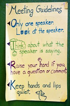 Guidelines for a classroom Morning Meeting. (Photo © Jeff Woodward.)