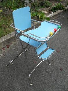 Baumann 1960 Chaise haute pliante pour enfant formica bleu vintage