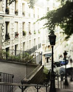 Paris Steps Photograph - Montmartre - French Architecture photo 10x8 wall art fall morning photography light neutral colors. $25.00, via Etsy.