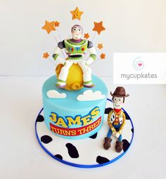 Toy Story Buzz & Woodie Cake - Hi, everyone. This is Jame's third birthday cake.  It is my third time making toy story theme cake.( I made a Jessie cake and Woodie cake before so making Buzz figurine was new for me but I had a lot of fun!)     Banana cake with dark chocolate ganache.  Hand made Buzz & Woodie Figurines.    Thanks for watching,guys!  xx