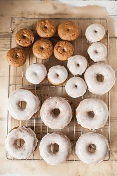 〉〉baked apple cider donuts with maple-whiskey glaze