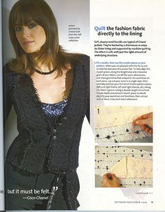 "Chanel Jacket ""Threads 121"" (Pg 2) Pinner Daya Monay was kind enough to post some great material for advanced sewers...this link http://www.pinterest.com/dayamonay/sew-chanel/ will take you to her board...look around, you'll find some great pins"