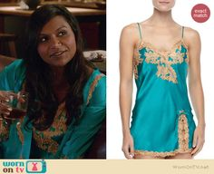 Mindy's turquoise blue lace applique slip on The Mindy Project.  Outfit Details: http://wornontv.net/37931/ #TheMindyProject