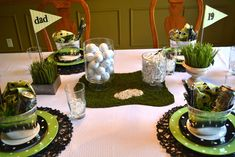 Golf Party Corner of Plaid and Paisley: June 2012 Hockey Party, Golf Party, Birthday Party Tables, Birthday Celebration, 80th Birthday, Birthday Ideas, Fathers Dat, Party Corner, Party Table Centerpieces