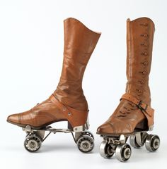 Fun photo of circa 1896-1913 roller skates with boots to accommodate them.