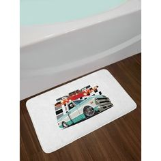 East Urban Home Ambesonne Truck Bath Mat by, Lowrider Pickup with Racing Flag Pattern Background Speeding on the Streets Modified, Plush Bathroom D...