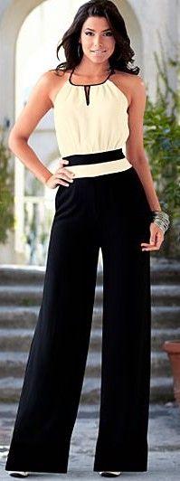 Black & White Keyhole Front Jumpsuit ♥✤ | Keep the Glamour | BeStayBeautiful