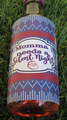 Momma needs a silent night Christmas wine labels.