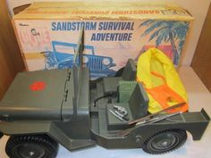 VINTAGE 1974  GI JOE ADVENTURE TEAM SANDSTORM SURVIVAL JEEP IN BOX 1970'S TOY