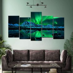 Aurora Mountain Scape Multi Panel Canvas Wall Art will make your walls bright and magical! This beautiful canvas print suits any space, whether it's your living room, bedroom, office and more.