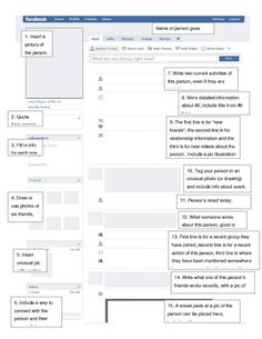 A facebook template page along with numbered directions for completing each part of the page as a book character biography.  There are also more de...