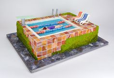 Swimming Pool Cake by Melissa Alt Cakes Cakes By Melissa, Pool Cake, Sculpted Cakes, Edible Art, Cupcakes, Custom Cakes, Sweet 16, Swimming Pools, Wedding Cakes