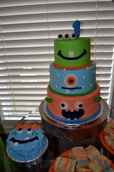 Monster birthday cake and smash cake #monster #birthday.....Cams will look much better then these but this is what im aiming for