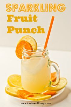 Sparkling Fruit Punch {Tastes of Lizzy T} You'll love this fresh, citrus punch! It has sparkling apple cider in it for a special twist. http://www.tastesoflizzyt.com/2013/06/18/sparkling-fruit-punch/