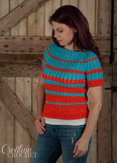 Ribbed Shell Tee | An easy to customize crochet top pattern.