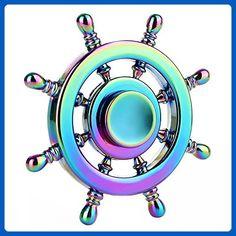 Fidget Spinner,KEKU New Rainbow Fingertip Gyro Toy, Super Silent EDC For Stress Reducer ADD,ADHD,Anxiety,Boredom,Autism Adults/Kids(Ship Wheel ) - Fidget spinner (*Amazon Partner-Link)