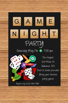 Game night party DIY you print custom photo by delightfulprints, $10.00