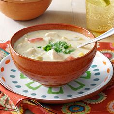 Mexican Chicken Corn Chowder Recipe -I like to make this smooth, creamy soup when company comes to visit. Its zippy flavor is full of Southwestern flair. My family enjoys dipping slices of homemade bread in this chowder to soak up every bite! —Susan Garoutte, Georgetown, Texas