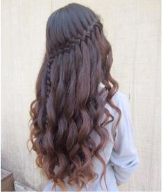 waterfall braid with curls - Google Search
