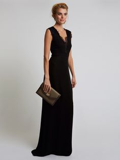 Katie Fong Spring 2014 Collection ◦ The Victoria Gown: black georgette gown with lace trim details // katiefong.com