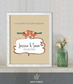 ♥ CLICK NOW TO SAVE 10% (Coupon code: PIN10) ▷ Wedding Welcome Sign DIY // Love Birds, Rustic Vibrant Earth Tones // Printable Poster PDF  // Welcome To Our Wedding  ▷ Customized Sign by JadeForestDesign on Etsy