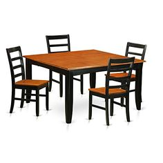East West Furniture PARF5-BCH-W 5 Piece Dining Table and 4 Chairs Set